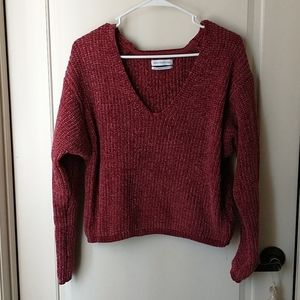 UO Rust Brown Red Cropped Chenille sweater XS